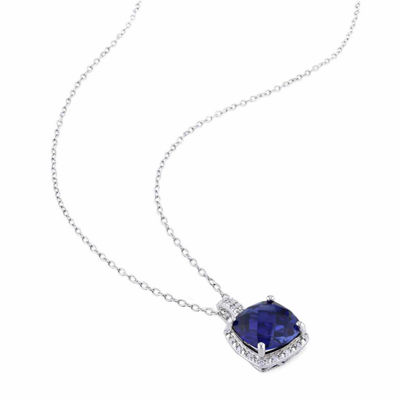 1/3 CT. T.W. Lab Created Blue Sapphire Sterling Silver Square 2-pc. Jewelry Set