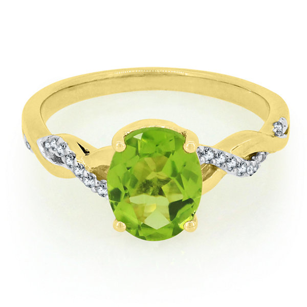 Womens Genuine Green Peridot 14K Gold Over Silver Cocktail Ring