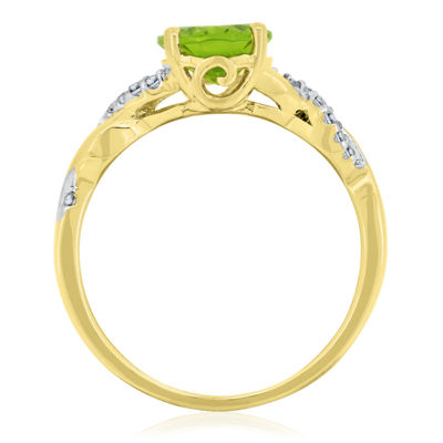 Womens Green Peridot 14K Gold Over Silver Cocktail Ring