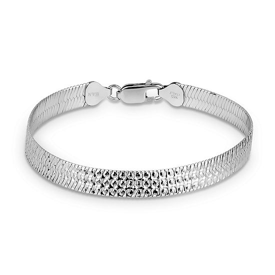 Made In Italy Sterling Silver 75 Inch Solid Herringbone Chain Bracelet