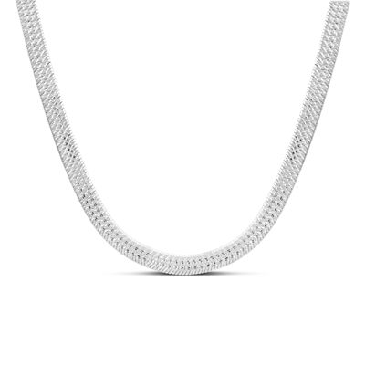 Made in Italy Sterling Silver 18 Inch Solid Herringbone Chain Necklace