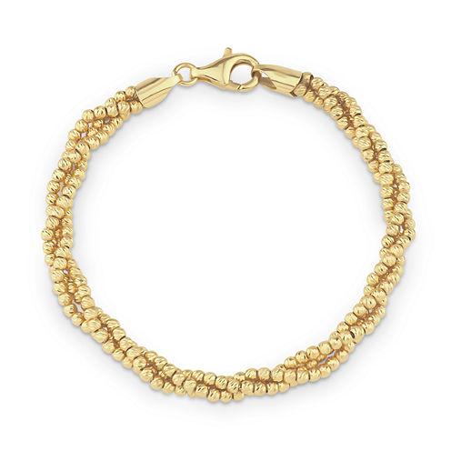 Womens 18K Gold Over Silver Beaded Bracelet