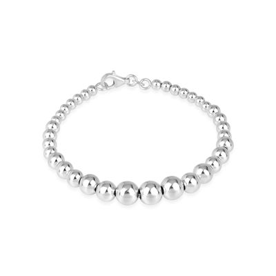 Womens Sterling Silver Beaded Bracelet