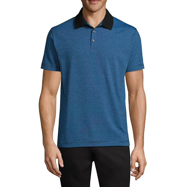 Claiborne Feeder Stripe Short Sleeve Jersey Polo Shirt