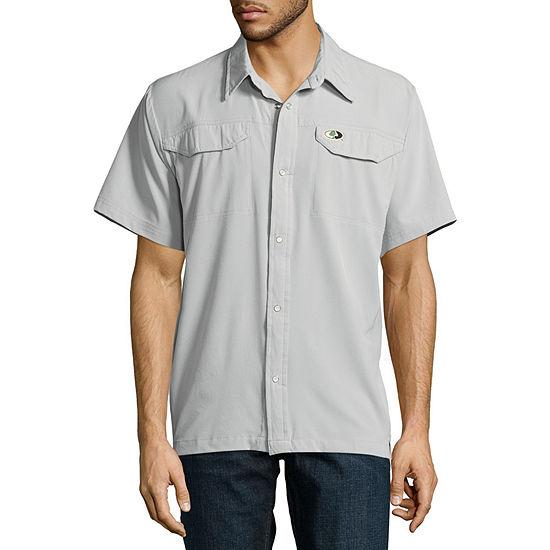 Mossy Oak Mens Short Sleeve Moisture Wicking Button-Down Shirt