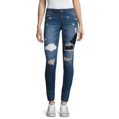 Rewash Destructed Skinny Jeans-Juniors