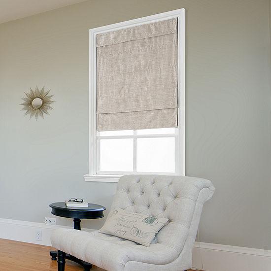 JCPenney Home Velveteen Large Fold Custom Cordless Light-Filtering Roman Shade
