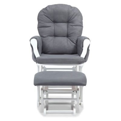 Storkcraft Hoop Glider And Ottoman - White W/ Gray Cushions Dome-Arm Glider
