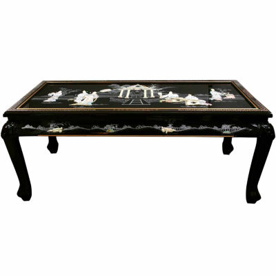 Black Mother Of Pearl Ladies Claw Foot Coffee Table