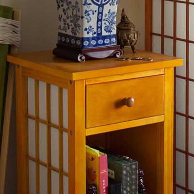 Oriental Furniture Shoji 1-Drawer End Table