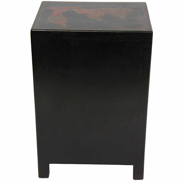 Oriental Furniture Ming Style Black Lacquer 1-Drawer End Table