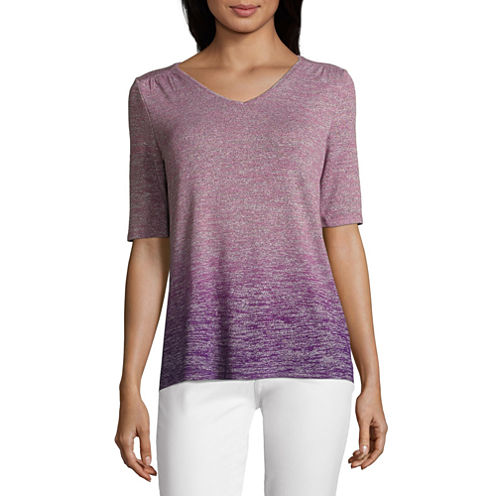 Liz Claiborne Elbow Sleeve V Neck T-Shirt-Womens