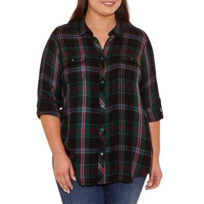 Boutique + Long Sleeve Plaid Button-Front Shirt-Plus