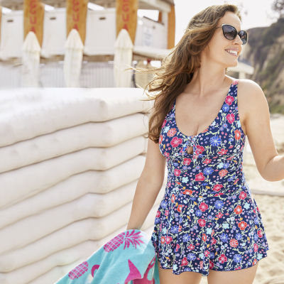 Liz Claiborne Floral Swim Dress