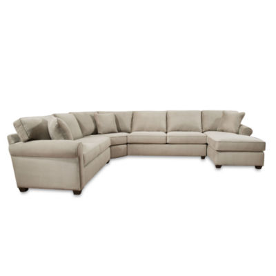 Fabric Possibilities Roll Arm  4pc Right Arm Facing Chaise Sectional