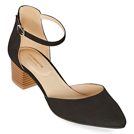 Liz Claiborne Womens Porter Strap Closed Toe Block Heel Pumps