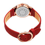Akribos XXIV Womens Red Leather Strap Watch-A-1087rd