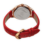 Burgi Womens Crystal Accent Red Leather Strap Watch-B-239rd