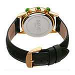 August Steiner Womens Multi-Function Crystal Accent Green Leather Strap Watch-As-8236gn