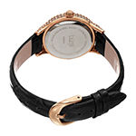 Burgi Womens Diamond Accent Crystal Accent Black Leather Strap Watch-B-249bk