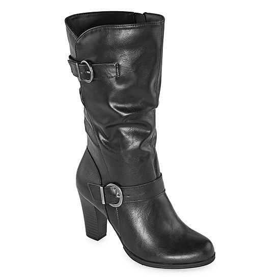 east 5th Womens Nevin Wide Calf Block Heel Slouch Boots