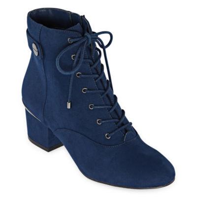 Liz Claiborne Womens Garret Block Heel Zip/Lace-Up  Booties
