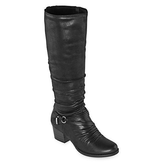 Yuu Womens Ryley Riding Boots Stacked Heel