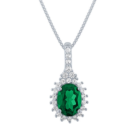 Womens Lab Created Green Emerald Sterling Silver Pendant