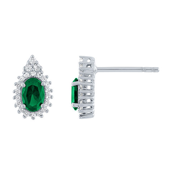Lab Created Green Emerald Sterling Silver 11.8mm Stud Earrings