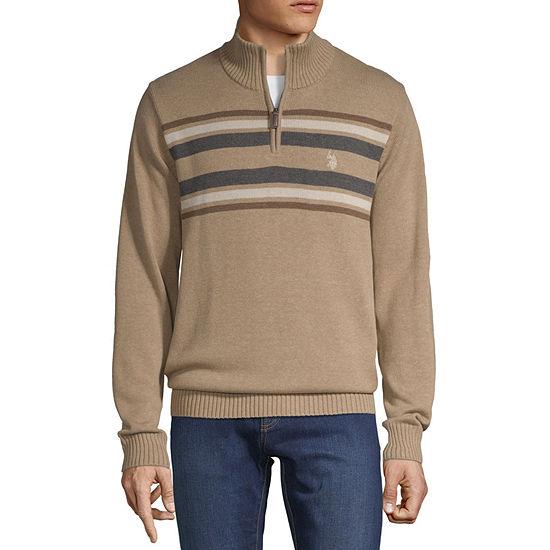 U.S. Polo Assn. Quarter Zip Mock Neck Long Sleeve Pullover Sweater