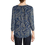 St. John's Bay Womens Scoop Neck 3/4 Sleeve Blouse