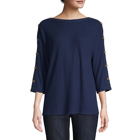 St. John's Bay Womens Boat Neck 3/4 Sleeve Thermal Top