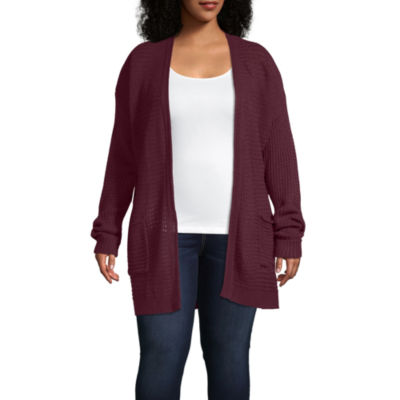 St. John's Bay Womens Long Sleeve Open Front Cardigan-Plus