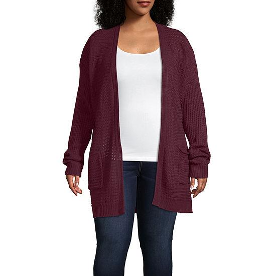 St. John's Bay-Plus Womens Long Sleeve Open Front Cardigan