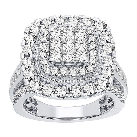 Womens 2 CT. T.W. Genuine White Diamond 10K White Gold Bridal Set