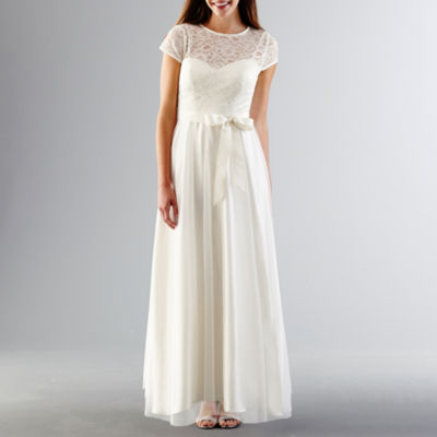 Stenay Cap-Sleeve Lace-Bodice Wedding Gown