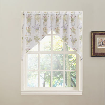 Eve's Garden Rod-Pocket Sheer Swag Valance Pair