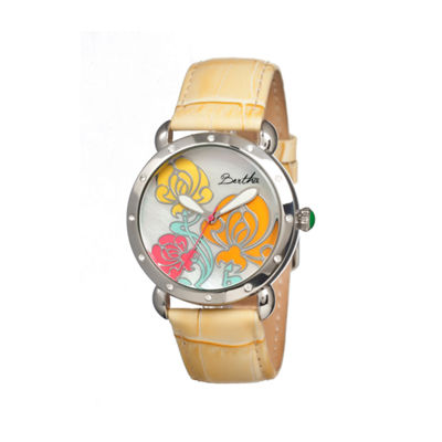 Bertha Josephine Womens Mother Of Pearl Dial Yellow Leather Strap Watch Bthbr1504