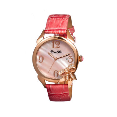 Bertha Bow Womens Mother Of Pearl Dial Pink Leather Strap Watch Bthbr2104