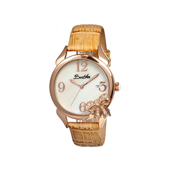 Bertha Bow Womens Mother Of Pearl Dial Cream Leather Strap Watch Bthbr2106