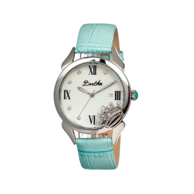Bertha Queen Womens Mother Of Pearl Dial Blue Leather Strap Watch Bthbr2402
