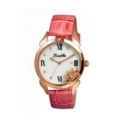 Bertha Queen Womens Mother Of Pearl Dial Pink Leather Strap Watch Bthbr2404