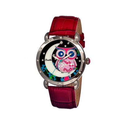 Bertha Ashley Womens Mother Of Pearl Red Leather Strap Watch Bthbr3001
