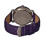 Bertha Ashley Womens Mother Of Pearl Dial Purple Leather Strap Watch Bthbr3002