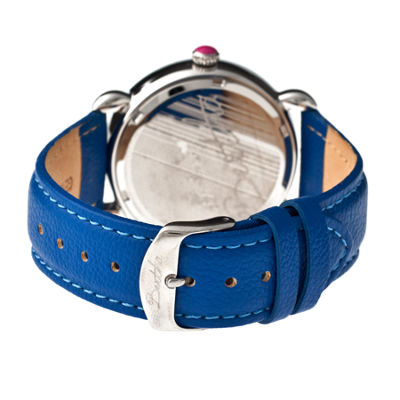 Bertha Ashley Womens Mother Of Pearl Dial Blue Leather Strap Watch Bthbr3005