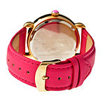 Bertha Ashley Womens Mother Of Pearl Dial Hot Pink Leather Strap Watch Bthbr3006