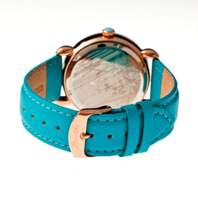 Bertha Ashley Womens Mother Of Pearl Turquoise Leather Strap Watch Bthbr3007