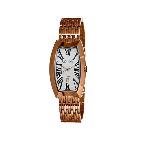 Bertha Laura Womens Swiss Rose Gold Tone Bracelet Watch Bthbr3205