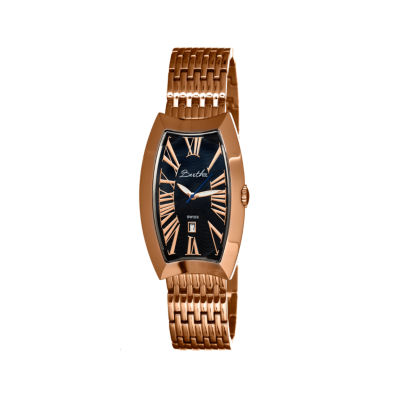Bertha Laura Womens Swiss Black Dial Rose Gold Tone Bracelet Watch Bthbr3206