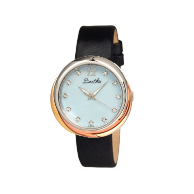 Bertha Jean Womens Swiss Light Blue Leather Strap Watch Bthbr3502